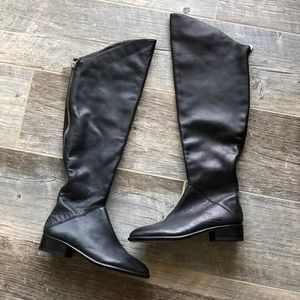 Dolce Vita Black Leather Knee-Thigh Boots Size 6